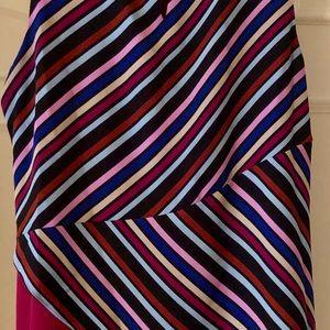 Dana Buchman Tops - Dana Bachman Asymmetrical blouse, stripes/maroon.